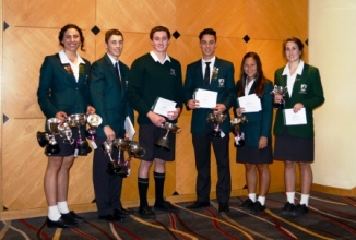 Year 12 Sportspeople of the year Grace Kukutai and Dale Pitout, Runners up Max White,Eddie Kennedy, Shee Nathan-Wong and joined by by Kalei Kennerley, Bray House Capt